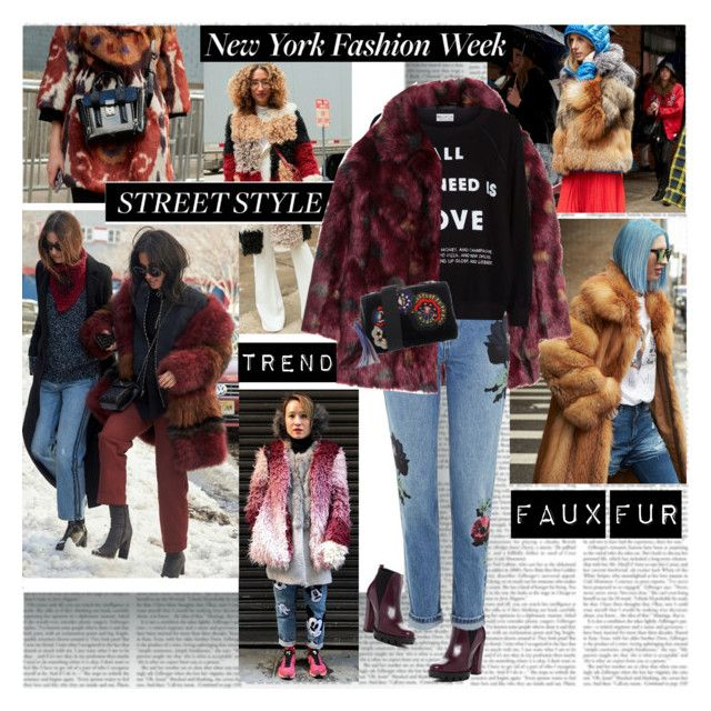 NYFW Street Style Trend Faux Fur by stylepersonal on Polyvore featuring polyvore, fashion, style, Wildfox, H&M, Topshop, Charles David, MSGM, clothing and NYFW