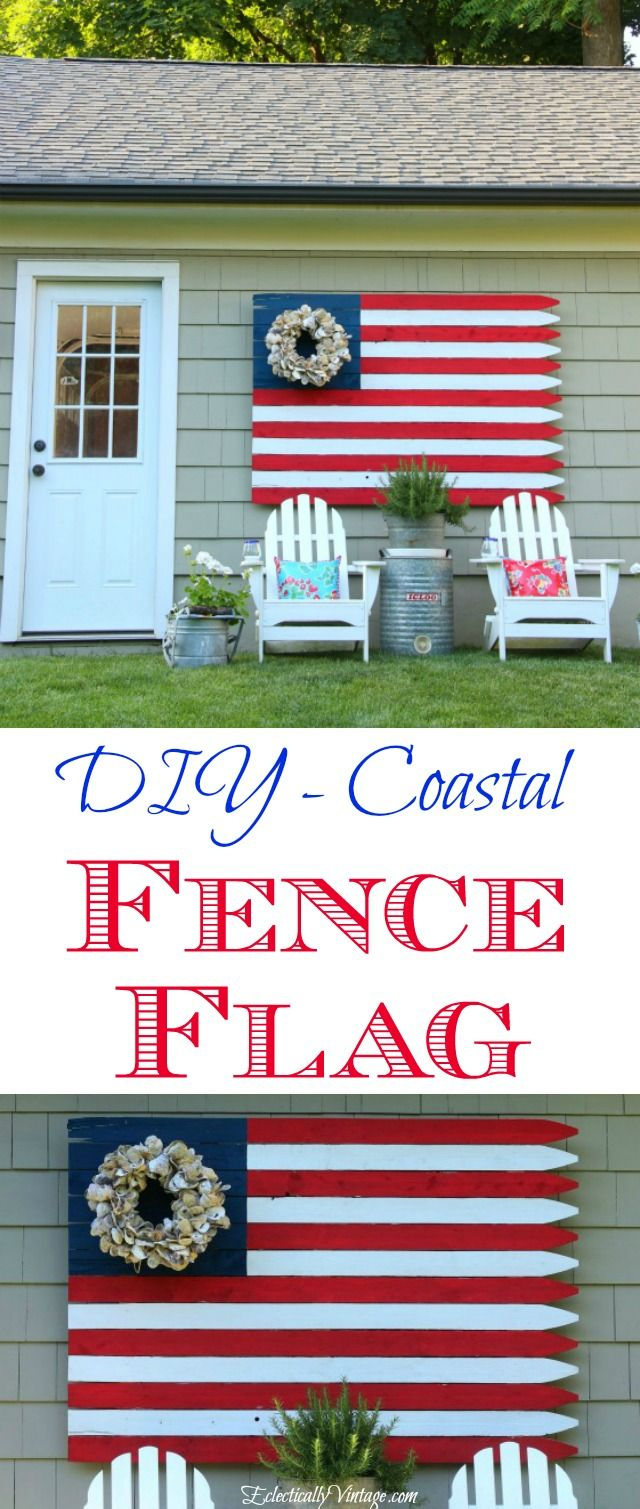 See how to make this huge DIY Fence Flag - love the oyster shell wreath from HomeGoods instead of stars! Such a fun piece of outdoor art kellyelko.com sponsored pin