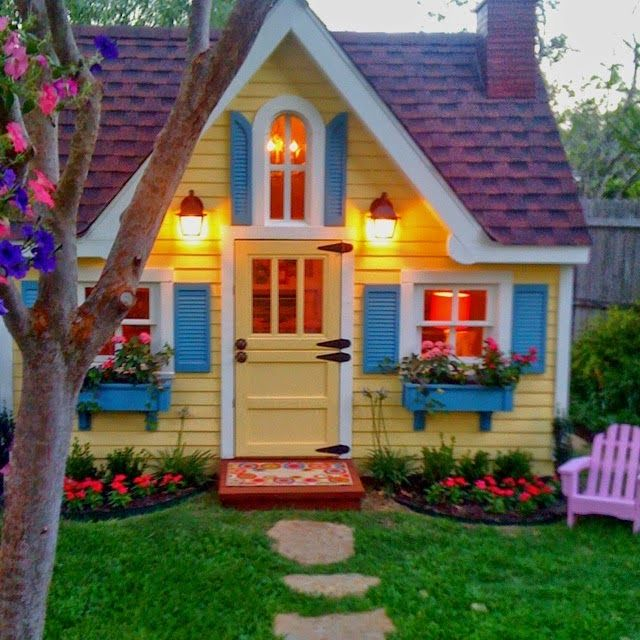 25 b sta playhouse outdoor id erna p pinterest for Playhouse with porch plans