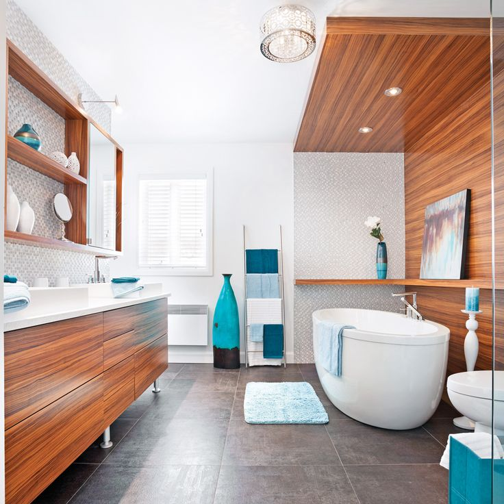 Bois autour de la baignoire - Salle de bain - Inspirations - Décoration et rénovation - Pratico Pratique