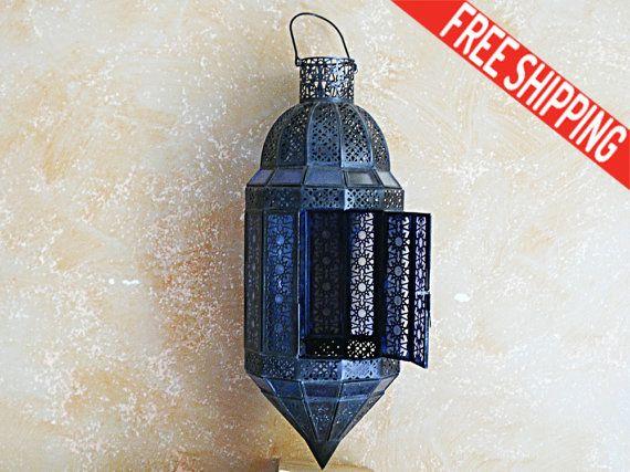 Vintage Iron & Blue Glass Lantern Hanging by TheBlackHatDesign
