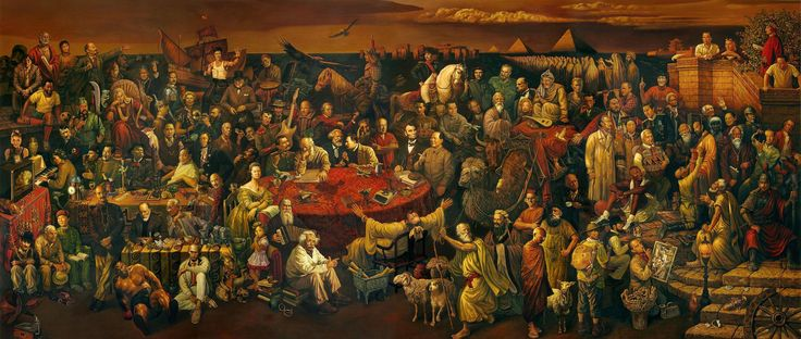 Famous People Painting - Discussing the Divine Comedy with Dante    Historical Painting with Wikipedia Links & Mouse Over Tagging