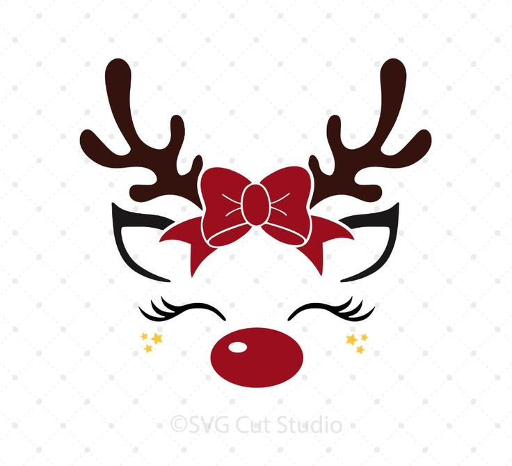 Download Reindeer face with Bow svg files | Christmas svg ...