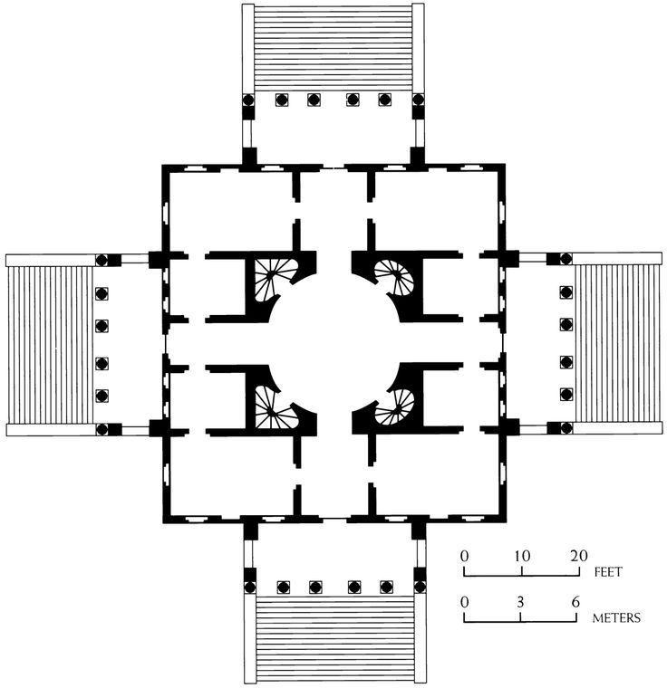 Black white plans 341 andrea palladio plan of the for Palladian style house plans