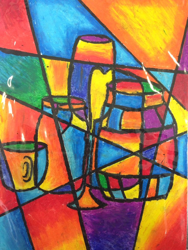 My students and I did this art activity in two different ways. The first time, we used contrasting pastel colours to fill in the shapes. The second time, we used charcoal pencil and focused on shad…