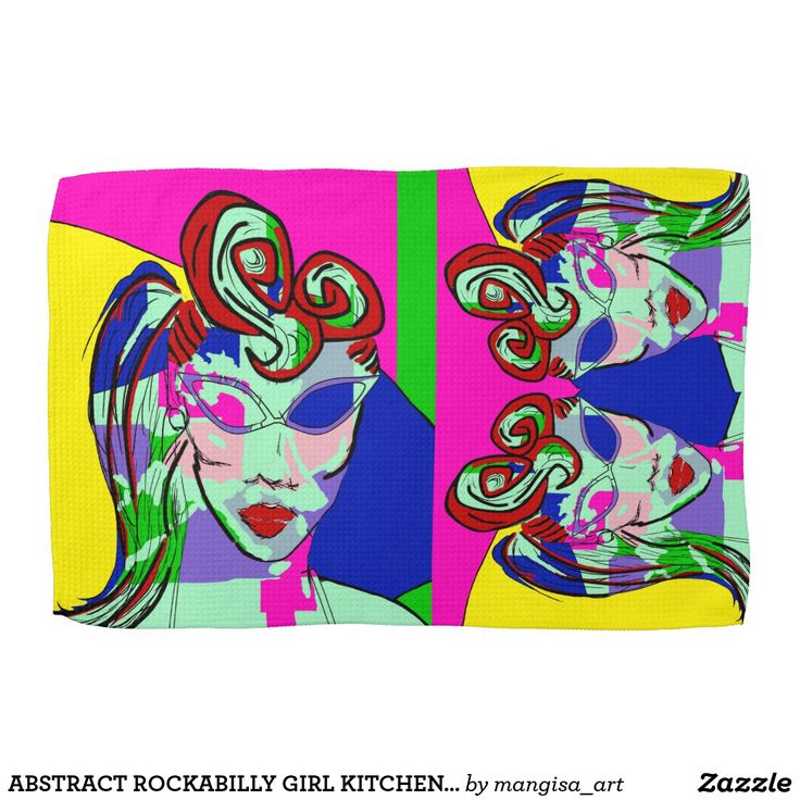 ABSTRACT ROCKABILLY GIRL KITCHEN TOWEL