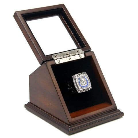 NFL 2006 Super Bowl XLI Indianapolis Colts Championship Replica Fan Ring with Wooden Display Case is the best souvenir for the most of Baltimore Colts fans to memorize the game on 4th February , 2007 at the Dolphin Stadium in Miami Gardens, Florida.
