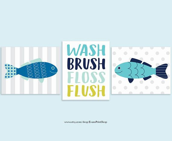 Canvas Fish Bathroom Wall Decor Set Of 3 Wash Brush Floss Etsy Fishing Bathroom Decor Fish Bathroom Art Bathroom Art