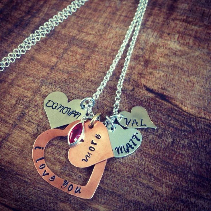 I Love You More necklace. copper hearts, mixed metals, hand stamped with children's names.