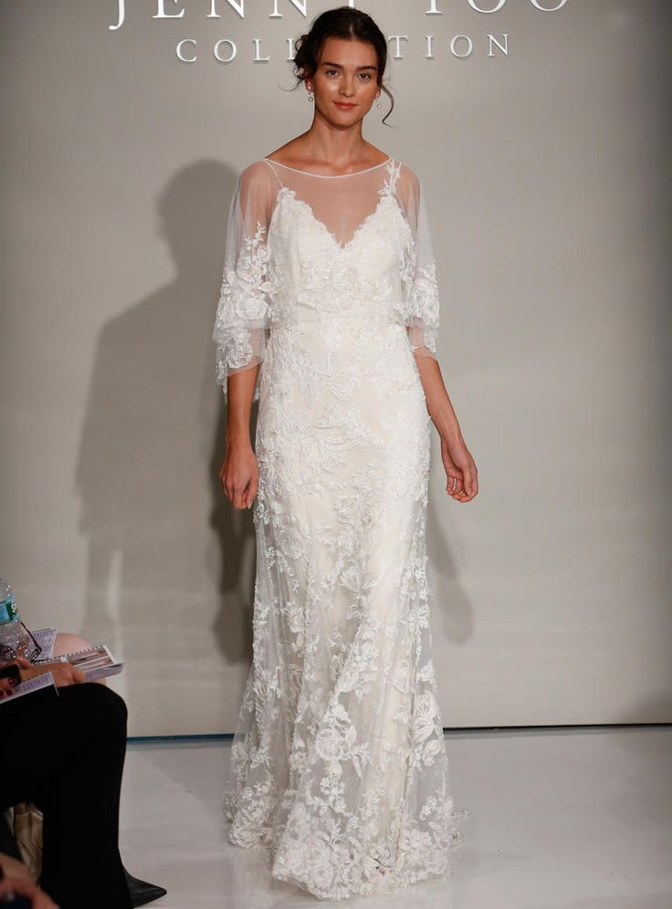 Jenny Yoo Fall 2016 wedding dress with sheer sleeves with lace detail over V neck with lace detailed bodice and skirt | https://www.theknot.com/content/jenny-yoo-wedding-dresses-bridal-fashion-week-2016