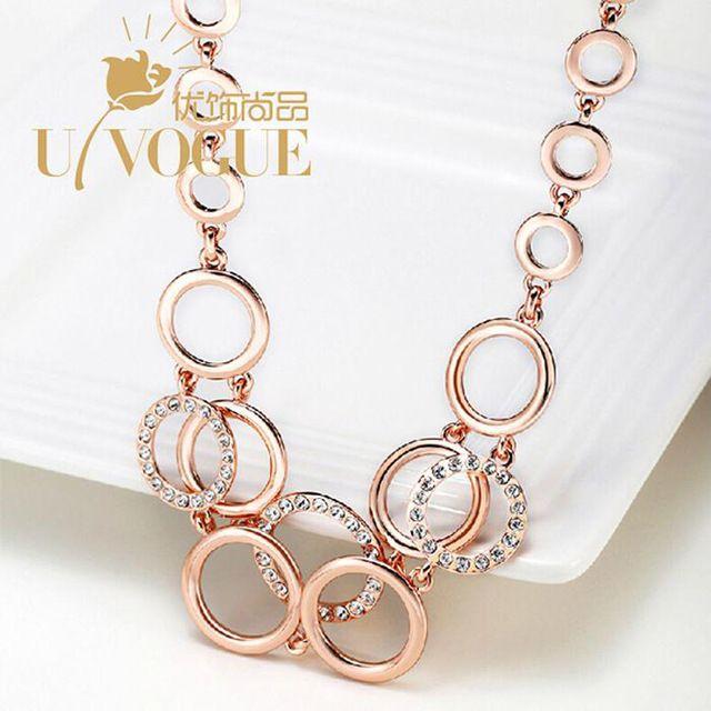 Prata de Strass Casamento Do Vintage Oco Círculo Colar Chocker New Top Marca de Jóias Moda 18 k Rose Gold/Platinum Plated