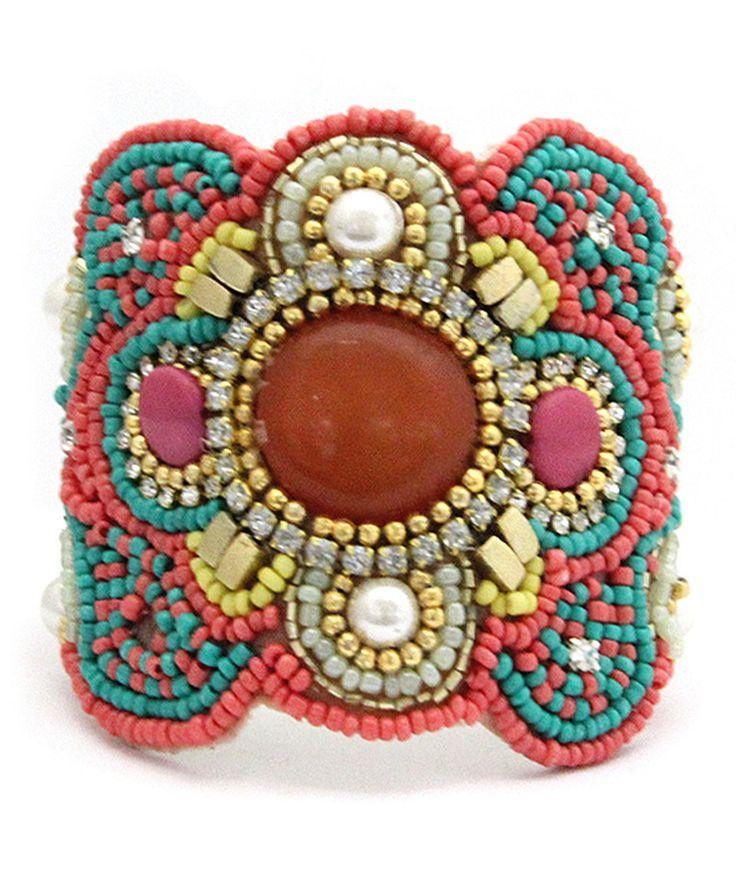 Love this MOA International Corp Coral & Turquoise Bead Cuff by MOA International Corp on #zulily! #zulilyfinds