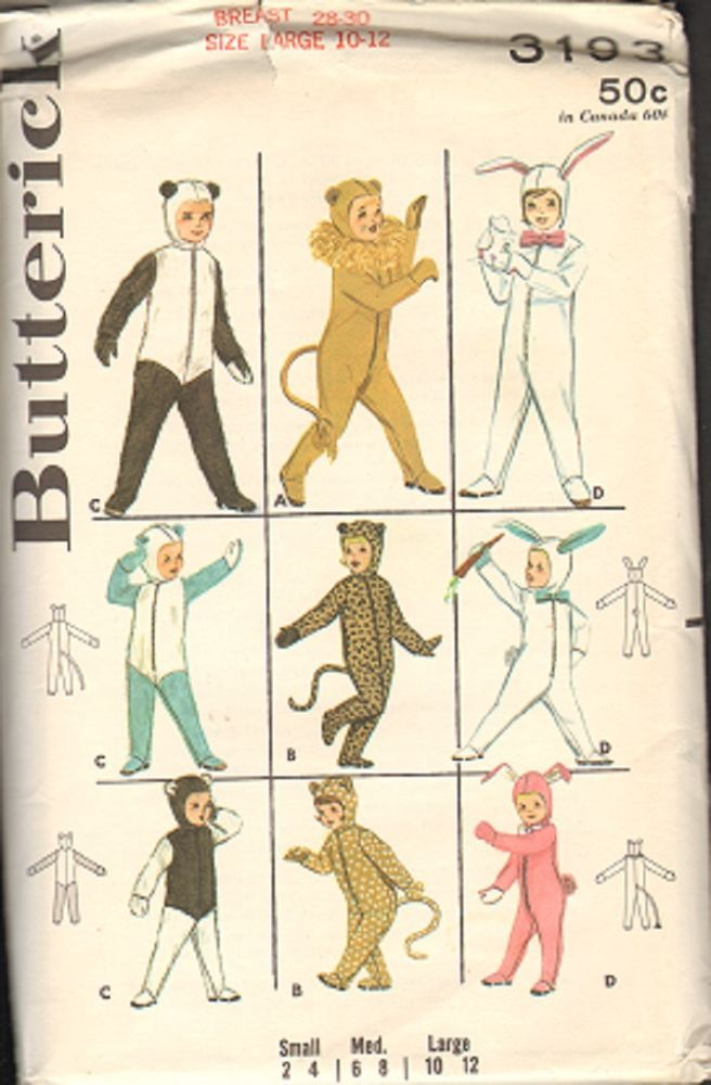 Vtg HALLOWEEN COSTUME Sewing Pattern 60s BUNNY LION BEAR CAT Kids Butterick 3193