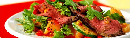 667 Ginger Beef Roast with Orange and Cantaloupe Salad