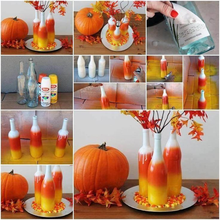 Create your own painted candy corn vases halloween fall