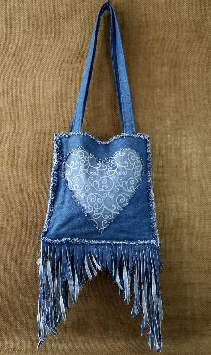 Denim frangia borsa a mano da Denim Jean blu riciclato cuore