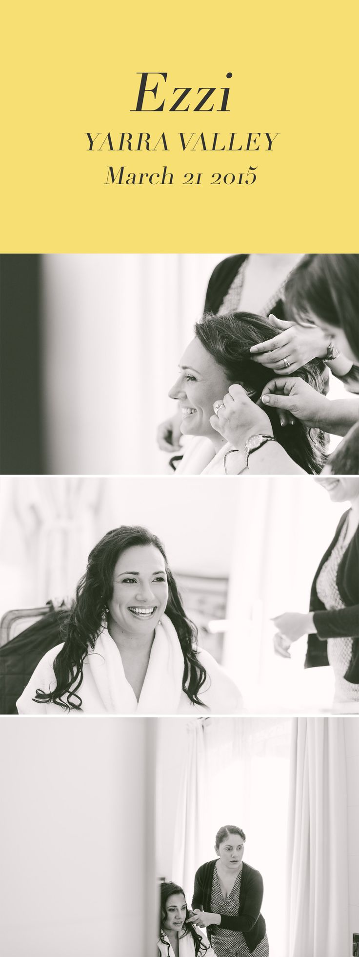 Bride getting makeup and hair done for wedding