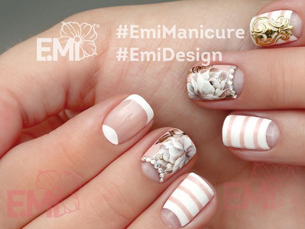 Pretty Nail Art With Beautiful Flowers And Colored Lines Nails Pretty Nail Art Nail Art For Beginners Line Nail Designs