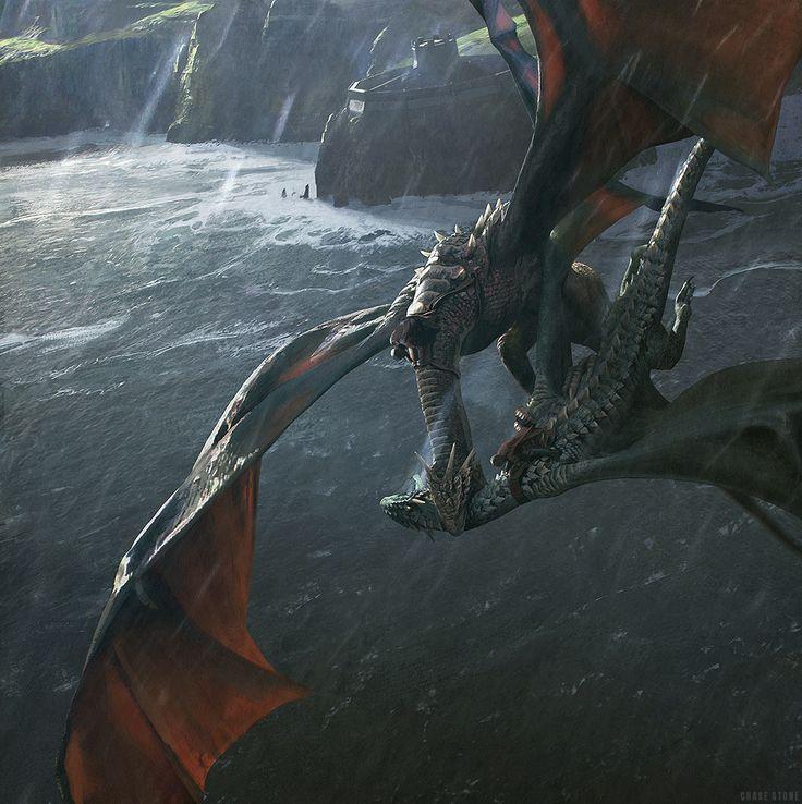 """""""The Deaths of Prince Lucerys and his Dragon"""", por Chase Stone para O Mundo de Gelo e Fogo. A ilustração retrata o duelo entre Lucerys em Arrax e Aemond em Vhagar, ambos utilizando selas para montar seus dragões."""