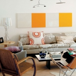 A tour of an apartment in a building with 60s decor.