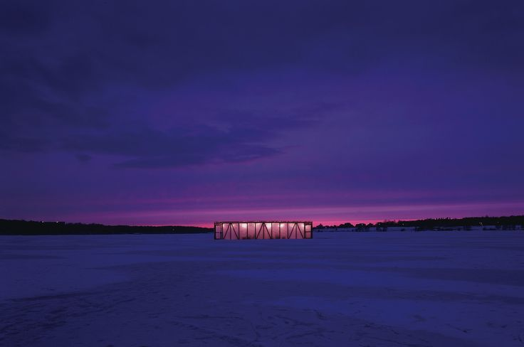 The Ice House was constructed by Alexander Brodsky in 2003. It is a temporary pavilion which served as a bar for a weekend built on the iced water of Klyazminskoye reservoir, outside Moscow by pouring water onto a wire mesh on a wooden frame.
