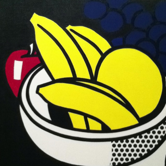 """Lichtenstein - close up of fruit bowl in """"Still Life with Mirror"""" 1972 oil on canvas at Crystal Bridges museum."""