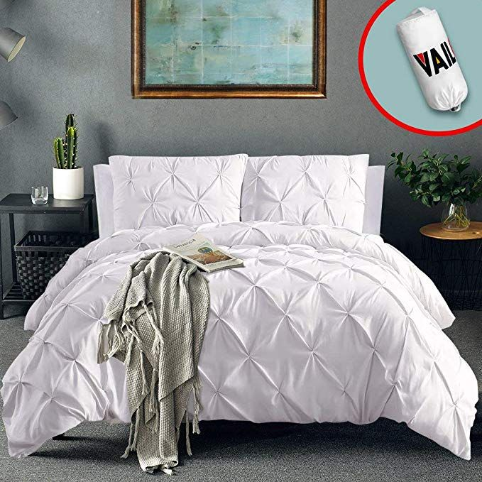 Vailge 3 Piece Pinch Pleated Duvet Cover With Zipper Closure 100 120gsm Microfiber Pintuck Duvet Cover Luxuri Pintuck Duvet Cover Pintuck Duvet Duvet Covers
