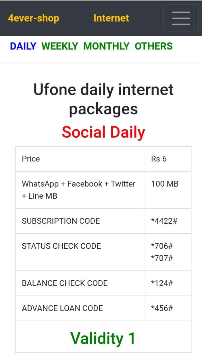 Ufone Internet Packages Internet Packages Packaging Internet