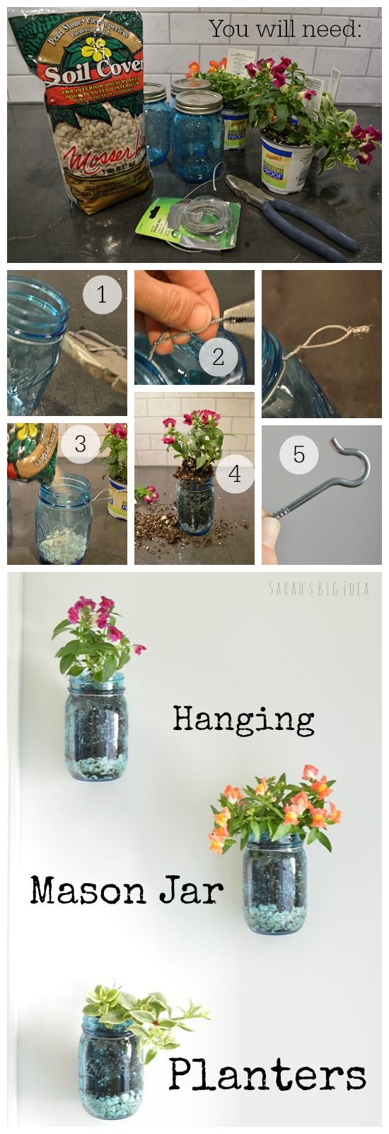 hanging mason jar planters Find more DIY here ---> http://fabulesslyfrugal.com/category/frugal-living/diy/