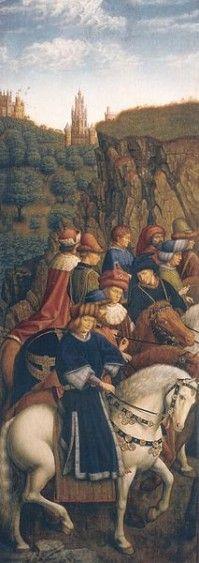 jan van Eyck adoration panneau inferieur gauche