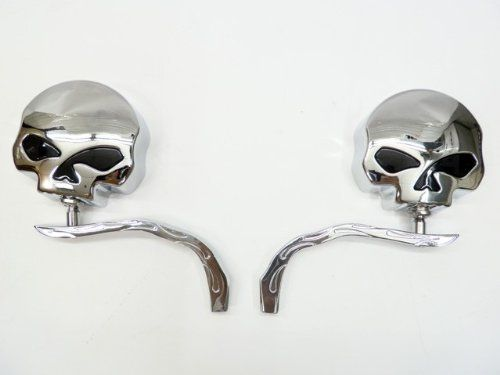 Skull Chrome Side Mirrors for Harley Dyna Softail Sportster Street Honda Shadow Rebel VT VTX 600 750 1100 1300 1800 Yamaha Road Royal V Star Warrior VMax Suzuki Savage Intruder Volusia Boulevard C50 M50 Kawasaki Vulcan VN 400 500 750 800 900 1500 by Tmsuschina. $43.99