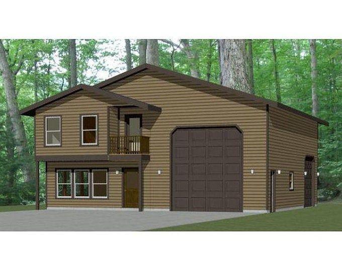 60x50 House 2 Bedroom 2 5 Bath 1694 Sq Ft Pdf Floor Etsy Garage House Plans Barn Style House Small House Floor Plans