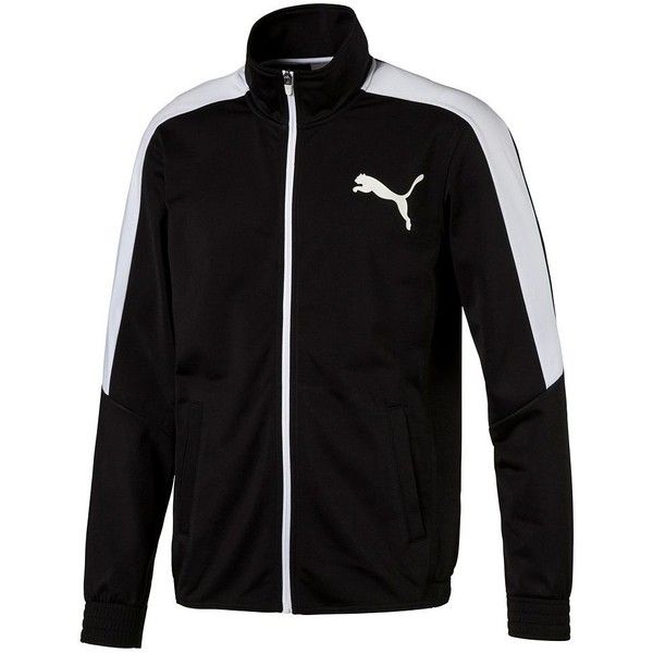 Men's PUMA Colorblock Track Jacket ($48) ❤ liked on Polyvore featuring men's fashion, men's clothing, men's activewear, men's activewear jackets, black, mens activewear, mens track jacket and mens track tops
