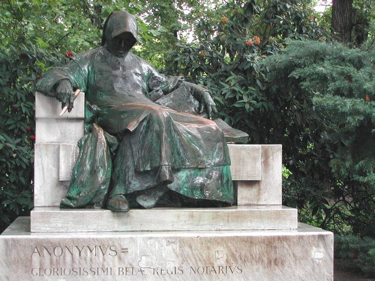 20th-century statue of the anonymous author of the Gesta Hungarorum in Vajdahunyad Castle in Budapest