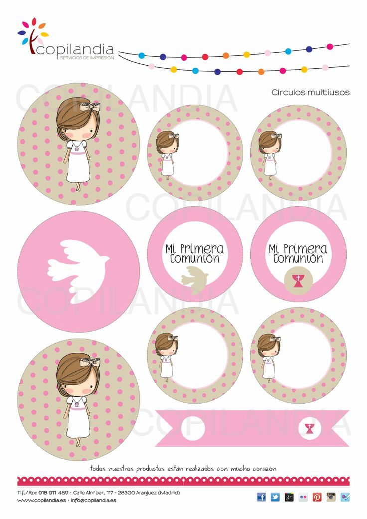 Kit Imprimible para Primera Comunión Disponibles en: https://www.etsy.com/es/shop/CopilandiaEventos