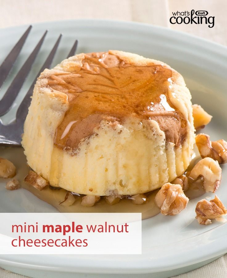 Drizzle your best Canadian maple syrup on these tasty mini cheesecakes. It's the ultimate dessert to serve at your Canada Day party. Tap or click photo for this easy Mini Maple-Walnut Cheesecakes #recipe.