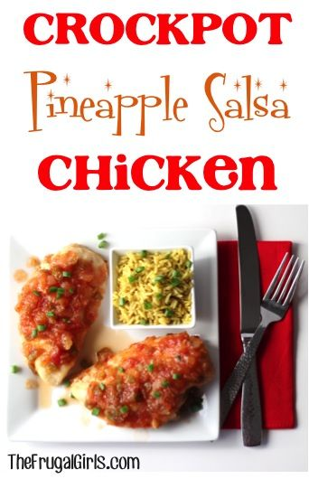 Crockpot Pineapple Salsa Chicken Recipe ~ from TheFrugalGirls.com ~ this easy slowcooker chicken recipe is full of sweetness + spicy zing! {it's SO good!} #recipes #thefrugalgirls