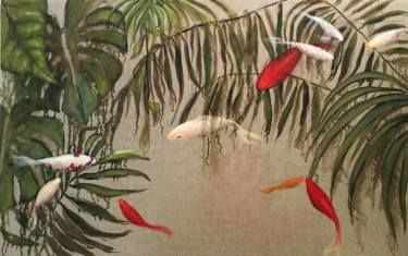 Jungle fishes 116x73cm, oil on raw linen  #contemporary art #fishes