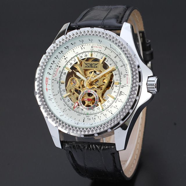 New! JARAGAR Watches Luxury Golden Skeleton Tricyclic Dazzle Dial Chronograph Reloj Casual Classic Black Leather Strap Montre