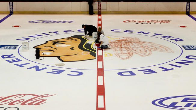 Painting the United Center Ice -