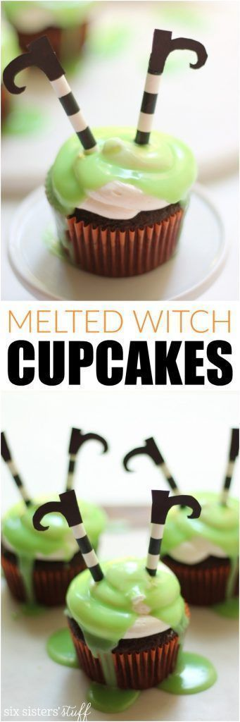 Melted Witch Cupcakes from http://SixSistersStuff.com | Made with marshmallow buttercream frosting and green white chocolate ganache. Sure to be a hit at your halloween party!
