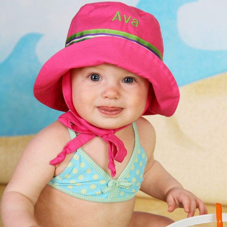 Personalized Baby Toddler Girl Pink Sun Hat