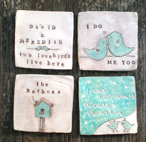Best 25 custom wedding gifts ideas on pinterest custom wedding coasters personalized wedding gift stamped glazed ceramic coasters couples names negle Images