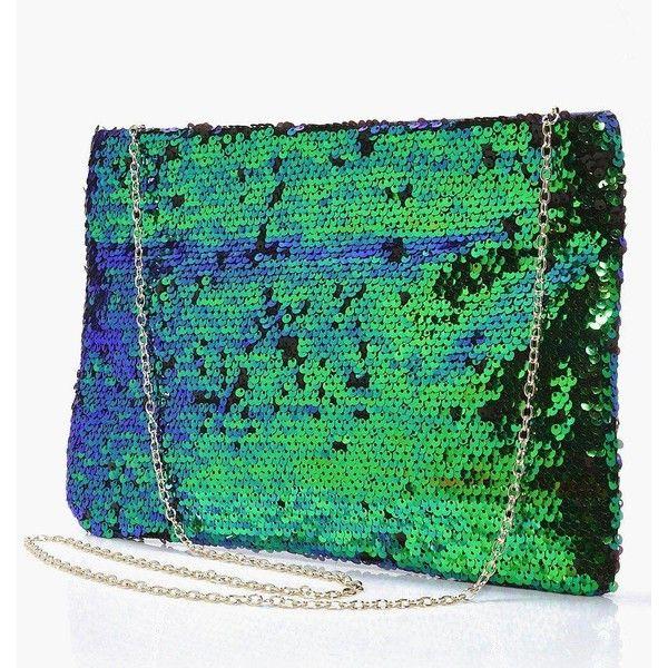 Boohoo Aleena Mermaid Sequin Zip Top Clutch Bag ($28) ❤ liked on Polyvore featuring bags, handbags, clutches, oversized clutches, oversized handbags, pastel handbags, green purse and oversized purses