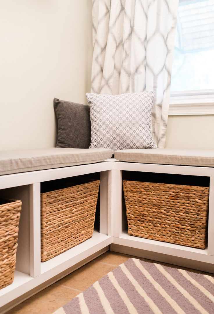 Build an Lshaped bench to maximize seating and storage in