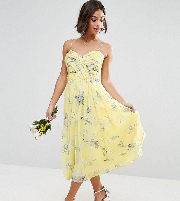 ASOS PETITE - WEDDING - Gerafftes Midi-Dress mit geblümtem ...