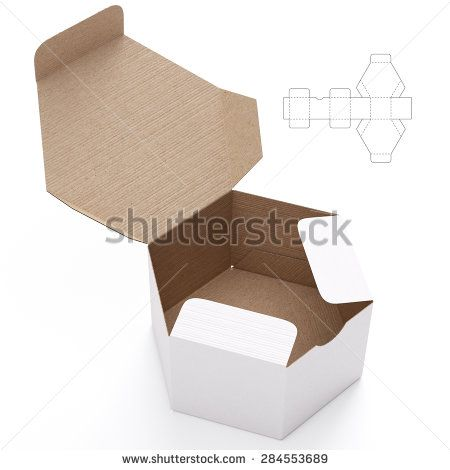 Hexagonal Cardboard Open  Box Box with Die Cut Template on White Background - stock photo