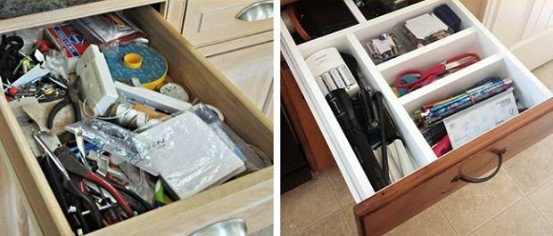 Znalezienie odpowiednich narzędzi może być dziecinnie proste dzięki stworzeniu odpowiednich przegródek w szufladzie.