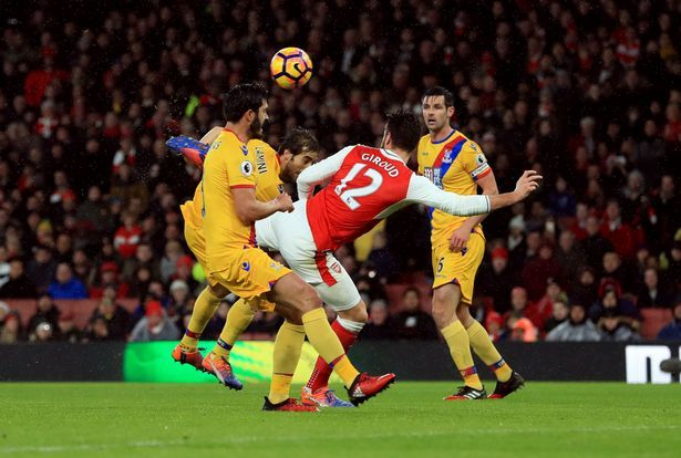 """Jan. 1st. 2017 : Olivier Giroud scores the opening """"scorpian' goal in a 2-0 win against Crystal Palace"""