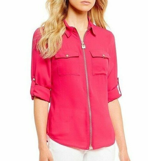 578bcb2366472 Michael Kors Lock-Embellished Zip-Front Shirt Deep Pink XL New $74.00 # MichaelKors #Blouse